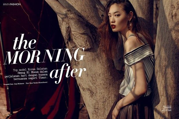 Hwang Gippeum for Grazia Indonesia by Ryan Tandya - Bobababe stripe top