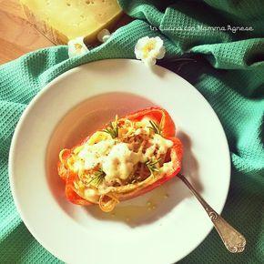 In Cucina con Mamma Agnese: Spaghetti al Formaggio in guscio di Peperoni Rossi ed Erbe Aromatiche