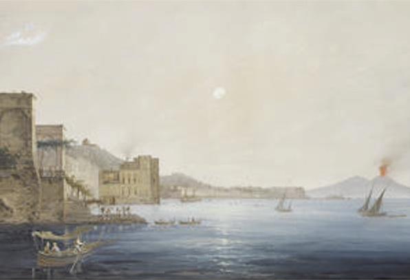 """""""Vesuvius in eruption with the Bay of Naples in the distance,"""" Gioacchino LaPira (Italian, 1839-1870) via Bonhams"""