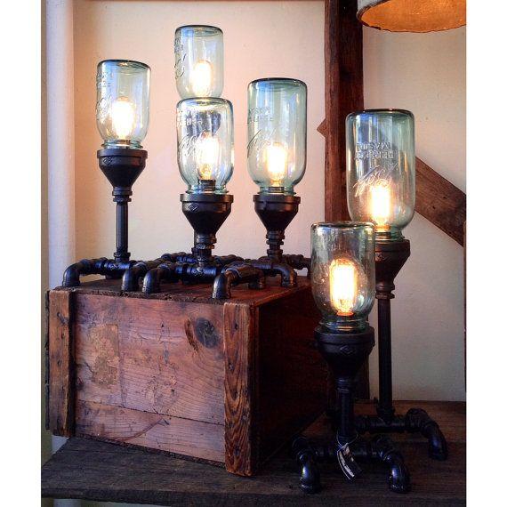 Mason Jar & Gas Pipe Steampunk Lamp by FosterLuminosity on Etsy, $175.00
