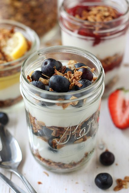 Headed to a holiday brunch gathering? Bring these Yogurt & Granola Parfaits – serve them in mini jars for a yummy, easy homemade treat. Via: Completely Delicious
