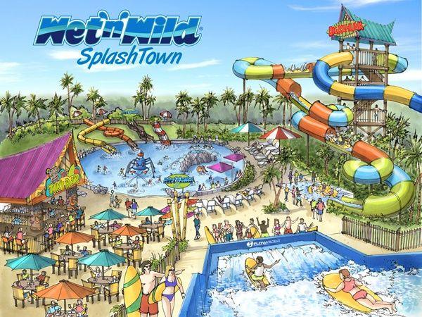 Splash Town Water Park (now wet 'n wild) Houston, Spring, Texas 21300 I-45, Spring, Texas 77373 - 281-355-3300 OPENS MAY 2, 2014
