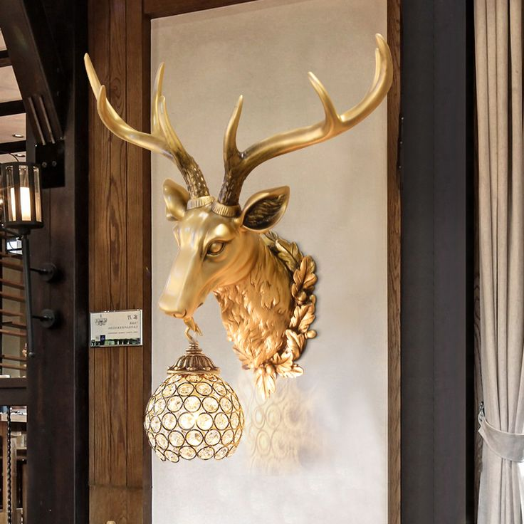 Retro retro wall lamp antlers wall room living bed bedside Deer head lampgarden decoration home decoration accessories statue #Affiliate