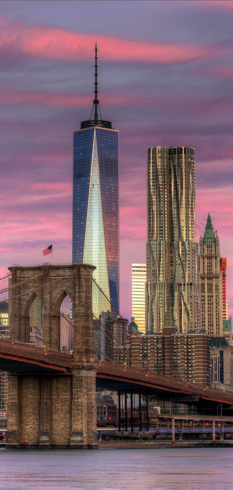 Sobre el East River, uniendo Brooklyn con Manhattan, el Puente de Brooklyn. En el lado de Manhattan, de izd a drch, el edificio  One World Trade Center (2014) , el  8 Spruce Street, de Frank Gehry (2010 ) y el precioso edificio  Woolworth,  (1913)