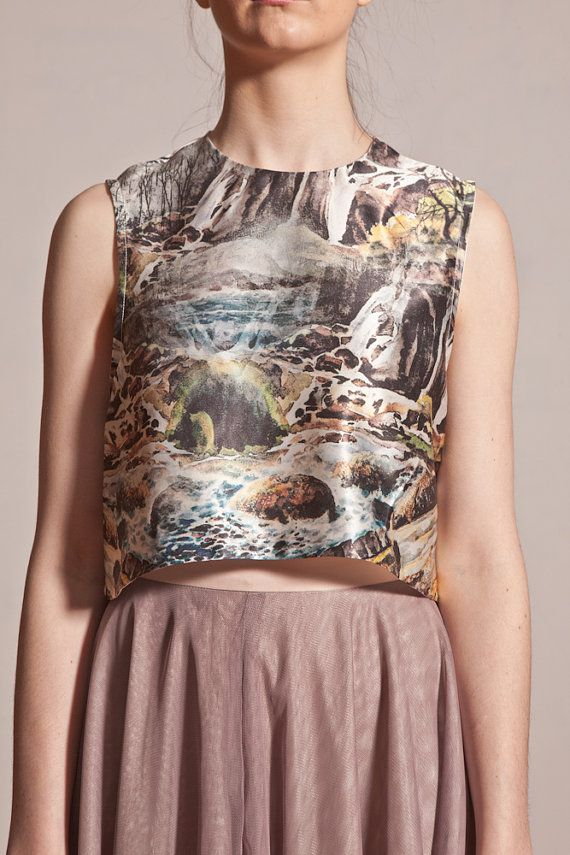 Beautiful digital print crop singlet top. Features landscape print on top and black and white print on back.  Back features key hole with button at