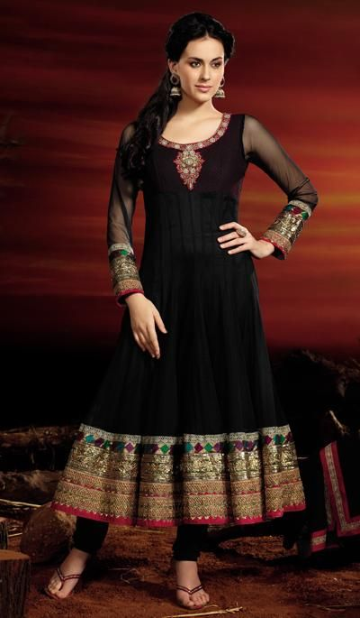 G3 Fashions Black Net Wedding Wear Embroidered Salwar Suit.  Product Code : G3-LSA103946 Price : INR RS 9432