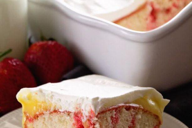 Strawberry Vanilla Poke Cake + VIDEO