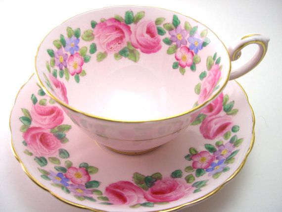 Tuscan  Floral Tea Cup And Saucer  English tea by AntiqueAndCrafts, $40.00