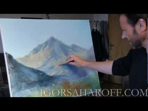 Учимся рисовать Горный пейзаж (холст масло кисть мастихин) Сахаров Игорь - YouTube