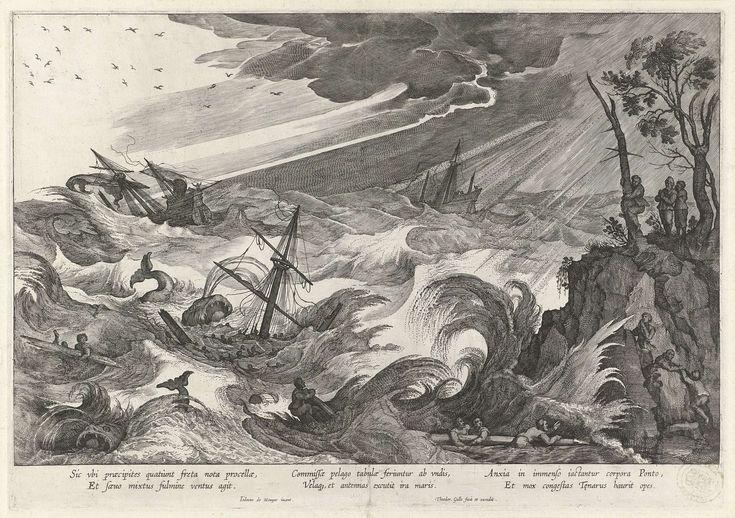 Herfst: storm op zee, Theodoor Galle, 1581 - 1633