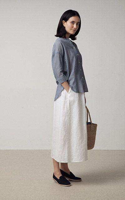 フレンチリネンイージーマキシスカート 婦人L・ライトグレー   無印良品ネットストア