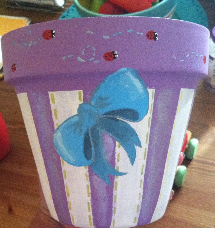 Hand painted flower pots as gifts