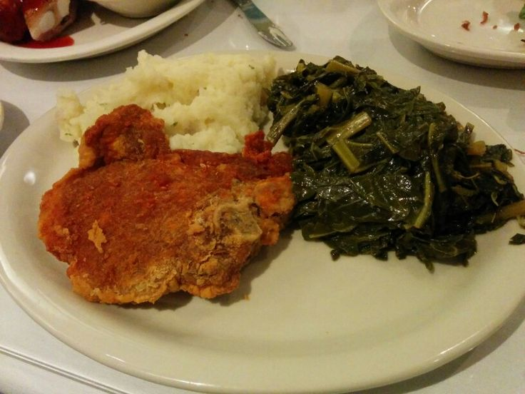 Sylvia's Restaurant, Golden fried pork chop w/ collard greens and garlic mashed potatoes - A: 2
