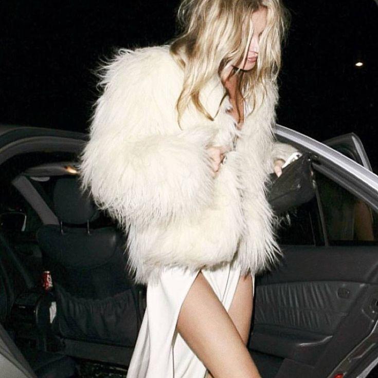 White Faux Fur, Messy Hair