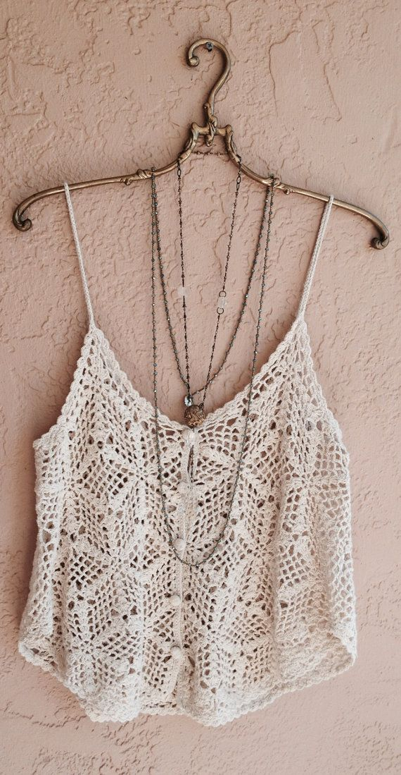 Beach bohemian crochet crop top with buttons and by BohoAngels, $45.00