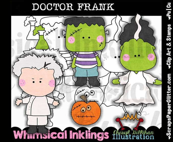 Doctor Frank Clip Art, BONUS Lineart, Commercial Use, Digital Stamps, Clipart, Black & White, Halloween, Frankenstein, Bride, Costume by ResellerClipArt on Etsy