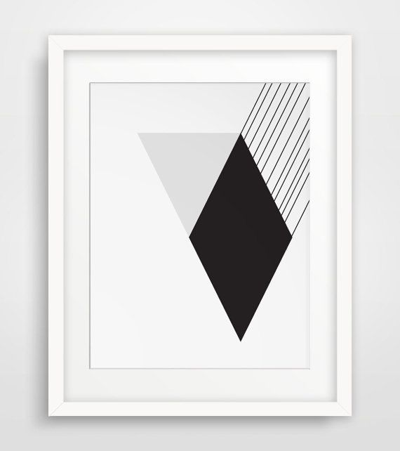 Modernist Black and White Wall Art Diamond by Meli…