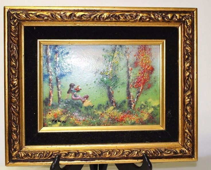 beautiful vintage oil painting on porcelain by mino httproverebay art framesoil paintingsauctionporcelain