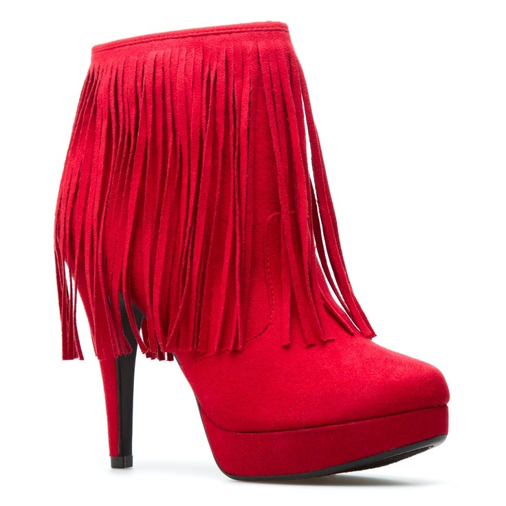 Red Suede Fringe Boot.