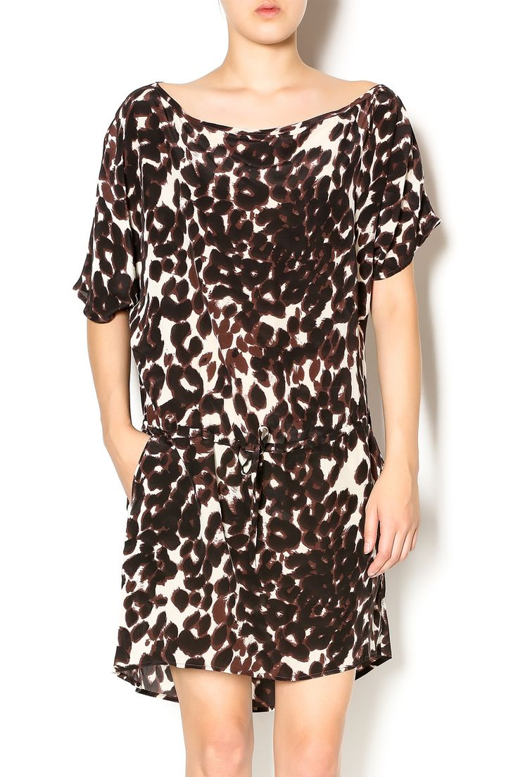 Short sleeve thigh length dress with cinch waist, black andbrown silk animal print. Wear this off the shoulder with a black bootie or pump for a night out.   Cheetah Print Dress by Chaser. Clothing - Dresses - Printed Clothing - Dresses - Casual Kansas
