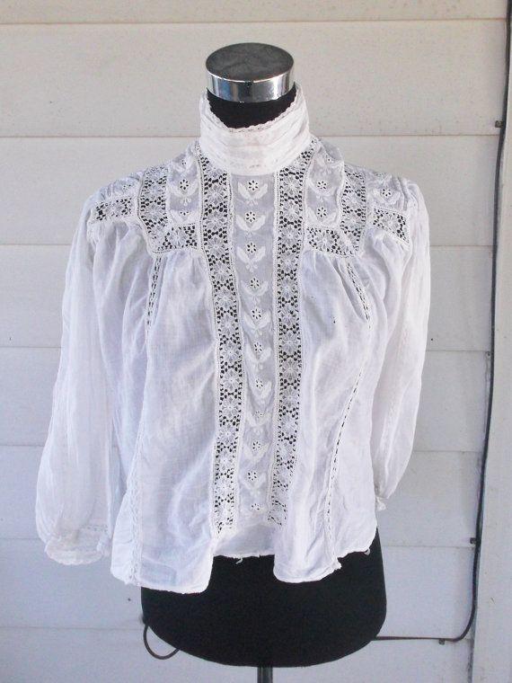 Edwardian White High Necked Blouse Shirtwaist by MyVintageHatShop