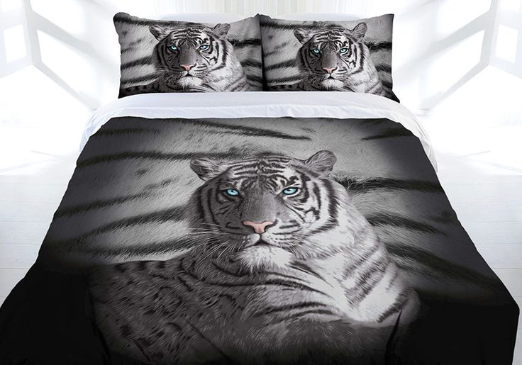 Tiger Blue Eyes Stripes Single, Double, Queen or King Size Quilt cover set [Size: Single]
