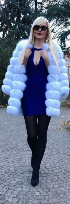 Polar fox fur coat, fur coat, bandage dress, sexy dress, party dress, blue dress, black tights, ralph lauren, sunglasses.