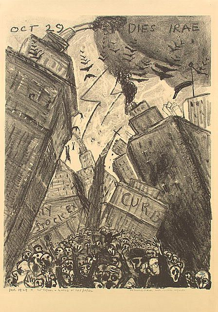"""James N. Rosenberg, """"Oct 29 Dies Irae"""" (""""Days of Wrath""""), 1929. One man's graphic depiction of Black Tuesday, drawn the day of. This reminds me a lot of """"The Scream."""""""