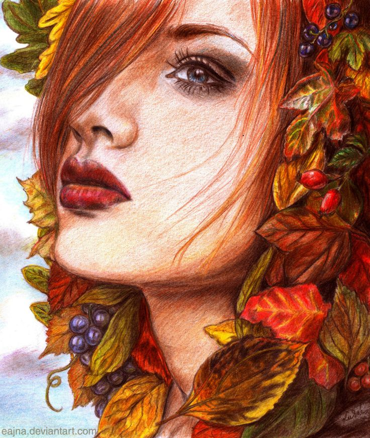 ode to autumn by eajna on deviantart female beauty traditional colored pencil drawing art. Black Bedroom Furniture Sets. Home Design Ideas