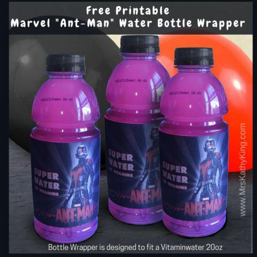 Free Printable Marvel Ant-Man Vitamin Water Bottle Wrapper