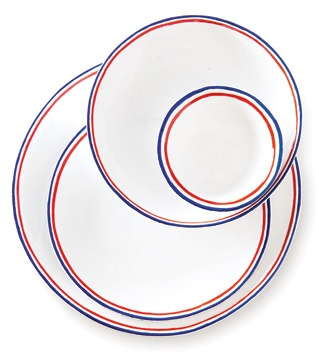 Two French design forces, Commune de Paris and Astier de Villatte, have teamed up to create the Tricolore dinnerware in their flag's blue, white, and red. @pattersonmaker