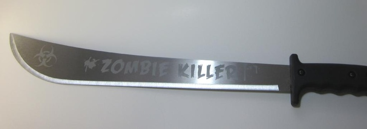 "Etched ""Zombie Killer"" 18 Inch Machete Image"