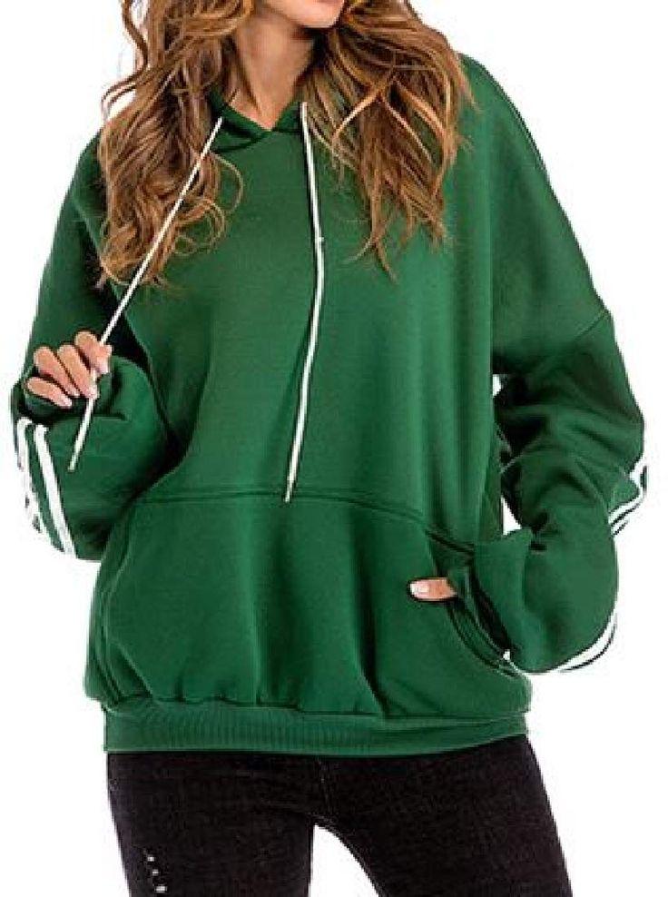 KLJR Women Hoodie Fleeced Loose Plus Size Thicken Solid Color Pullover Sweatshir... 3