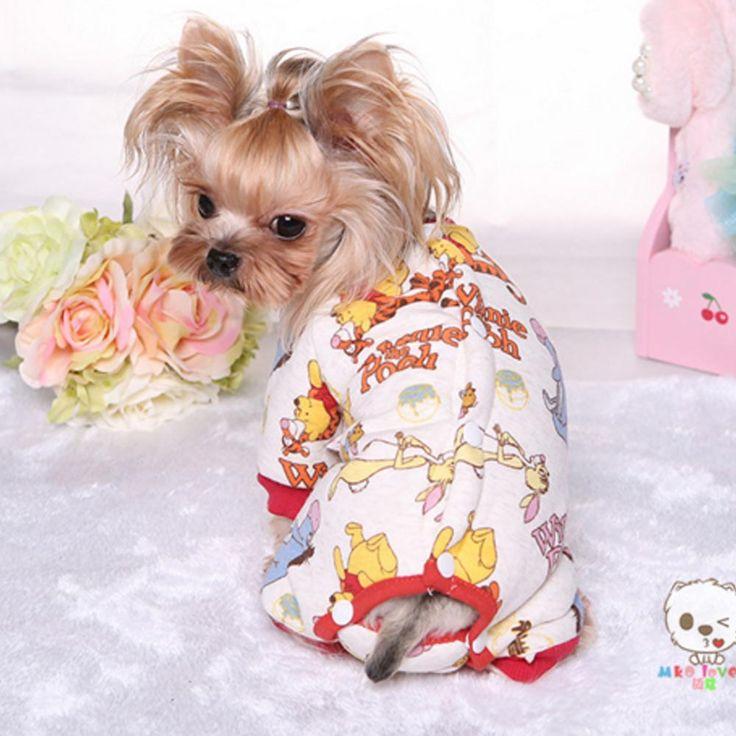 Shih Tzu Vestiti Nuovo 2016 Autunno e Inverno Cucciolo Pigiama Stampa del fumetto Casuale del Panno Morbido di Spessore Foderato Cani di Piccola Taglia A Pelo Cappotto indossa(China (Mainland))