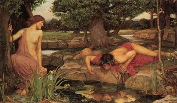 존 윌리엄 워터하우스(John William Waterhouse)의 에코와 나르시스(Echo and Narcissus) / 1903 / 워커 미술관 소장 나르시스라는 목동은 매우 잘생겨서 그 미모 때문에 여러 요정들에게 구애를 받지만 나르시스는 아무도 사랑하지 않는다. 양떼를 몰고 거닐다 호숫가에 다다른 나르시스는 물 속에 비친 자신의 모습을 보게 되었고 세상에서 처음 보는 아름다운 얼굴이 있었다.   나르시스가 손을 집어넣으면 파문에 흔들리다가 잔잔해지면 또 다시 나타나곤 했다. 나르시스는 물에 비친 모습이 자신이라고는 미처 생각하지 못하고 깊은 사랑에 빠져 결국 그 모습을 따라 물속으로 들어가 숨을 거두고 말았다. 그런데 나르시스가 있던 자리에서 꽃이 피어났고 그것이 바로 수선화(narcissus)다.