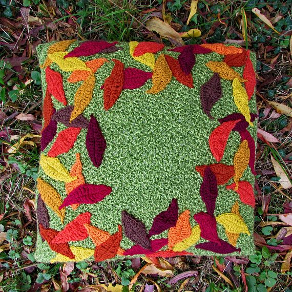 FALLING LEAVES CROCHET CUSHION KIT  Everything you need to whip up this beautiful cushion using rich autumnal colours to recreate all the beauty of falling leaves. A quick and easy project suitable for beginners.   #crochet #cushions #pillows