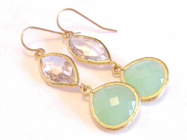 Mint Green Gold Earrings Cystal Clear Quartz Earrings Gold Crystal Earrings Mint Jewelry - Dangle Drop Mint Bridesmaid Earrings Wedding. $33.00, via Etsy.