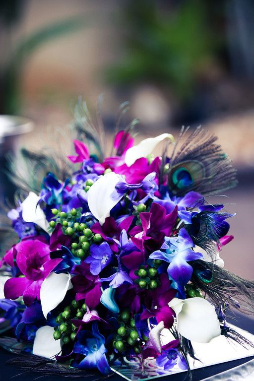 Purple, Teal and Royal Blue Peacock Themed Bouquets