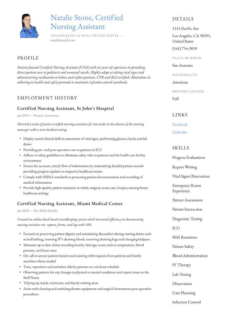 Modern certified nursing assistant resume template