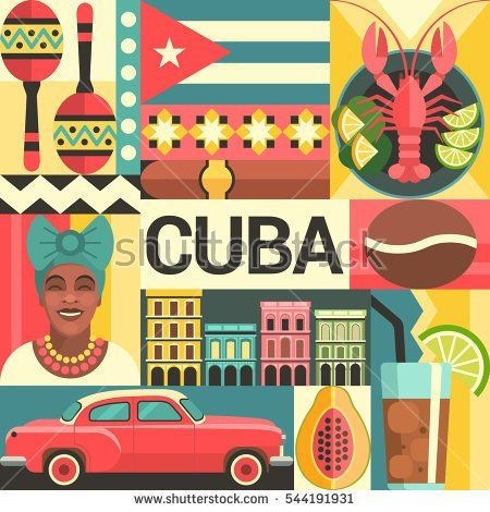 Cuba travel poster concept. Vector illustration with Cuban culture and food icons, including maracas, retro car, dish with lobster, architecture and portrait of Cuban Woman in trendy flat style.