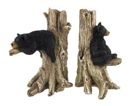 Amazon.com: Lounging Black Bear Decorative Bookends Nature Wildlife:  Furniture Decor