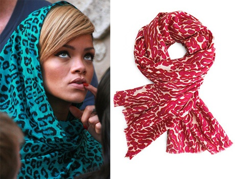Rihanna sporting a lovely Tory Burch scarf!