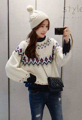 Patterned Slouchy Pullover
