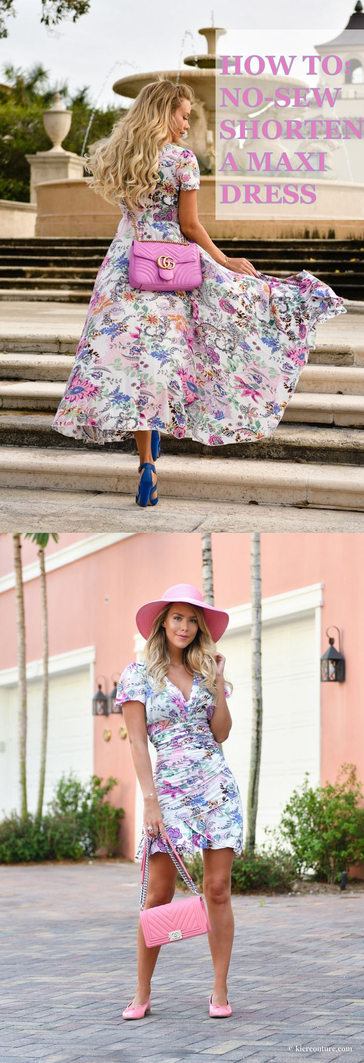 HOW TO NO SEW SHORTEN A MAXI DRESS: Kier Mellour in a floral DIY No-sew dress with pink chanel chevron boy bag and pink patent leather chanel flats with Eric Javitz hat