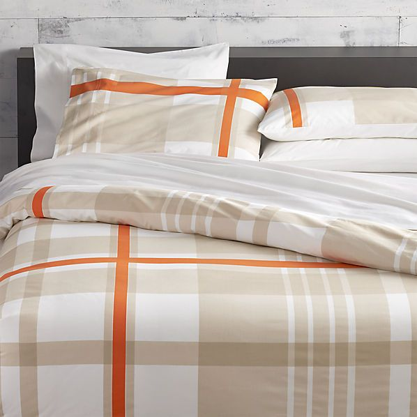 lively orange bed linens  | CB2