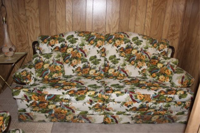 Wish I could edit out the panelling in the back, because this sofa is so fabulous... I can picture it in an upscale hunter's lodge or cottage (it has a matching arm chair and they are both in excellent condition!)  Lot # : 80 - Vintage Sofa - Pheasants