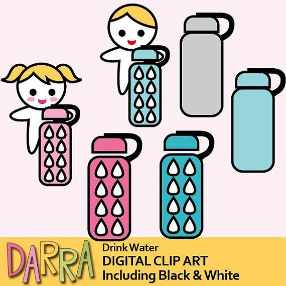 Water bottle clipart / drink water clip art / keep hydrate /