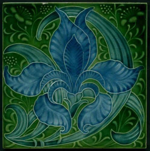 """Exotic Original Art Nouveau Tile, Produced by Pilkington's the Artist Was Lewis F. Day """"Iris"""" Tile, English, ca.1900."""