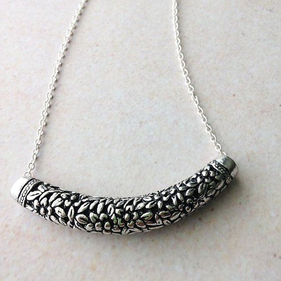 """WORN ON: """"Baby Daddy"""" by Actress Chelsea Kane. Antique Silver Embossed Floral Tube Necklace — Mary Grace Jewellery"""