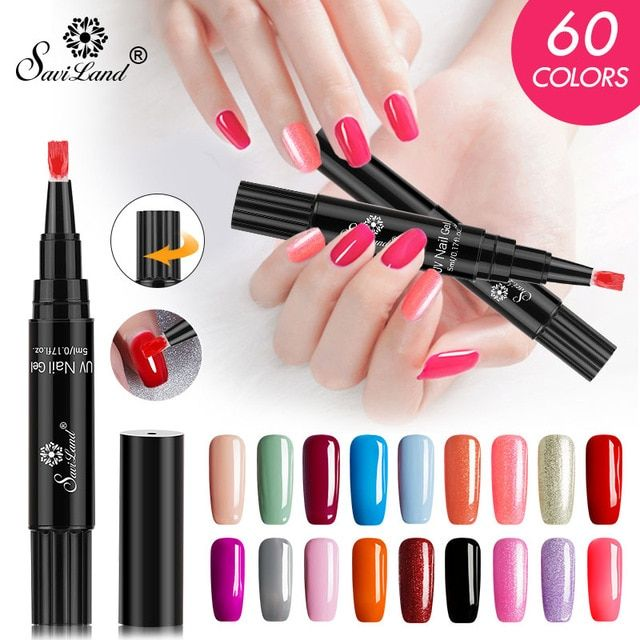 Saviland New 60 Colors Nail Polish Pen 3 In 1 Gel Nail Varnish Pen Glitter One Step Gel Nail Easy To Use Uv Nail Nail Polish Pens Gel Nail Varnish Uv Gel Nails